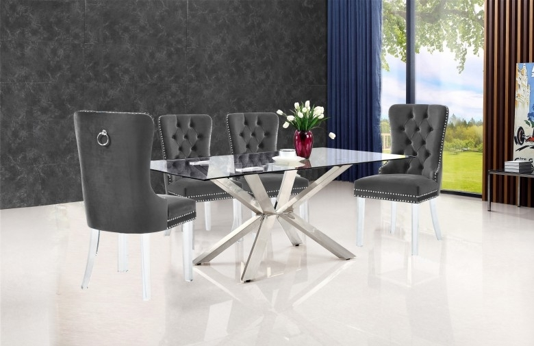 Meridian Meridian Furniture Miley Velvet Dining Chair In Grey With Velvet Dining Chairs (Image 15 of 25)