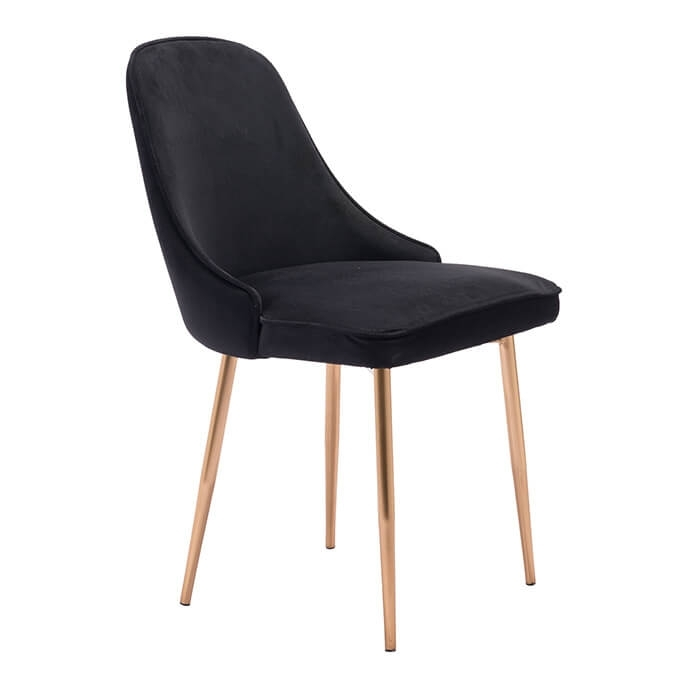 Merritt Modern Dining Chair Black Velvet Intended For Black Dining Chairs (View 6 of 25)