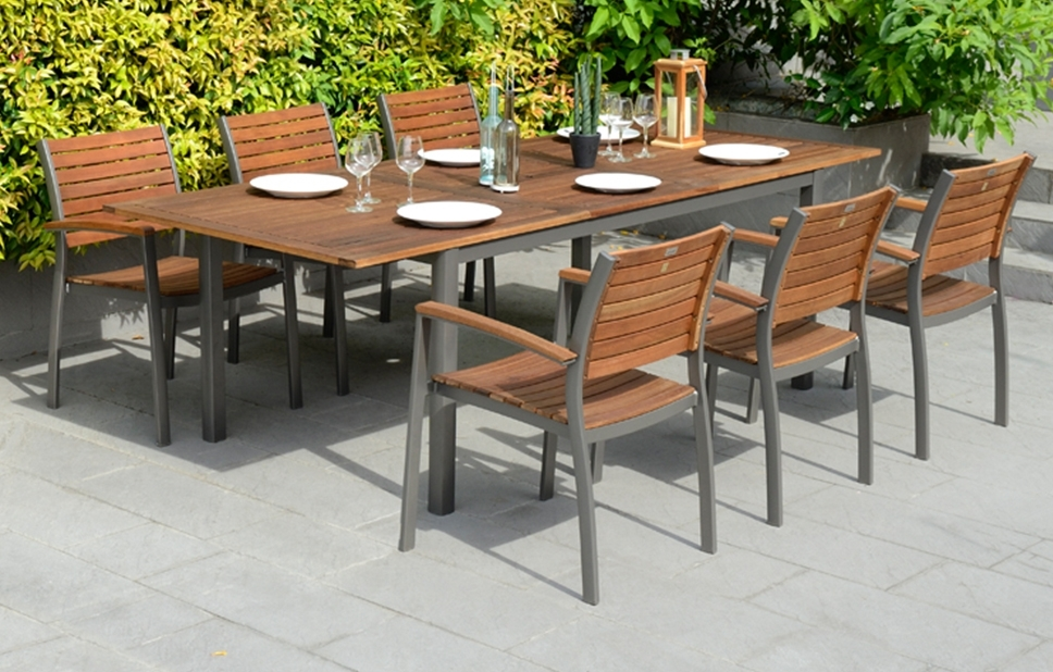 Metal Dining Set – 6 Seats – Garden Furniture – Out & Out Original Within Garden Dining Tables (View 10 of 25)