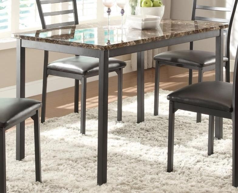 Metal Dining Table With Brown Faux Marble Top, Black In 2018 In Delfina 7 Piece Dining Sets (View 25 of 25)