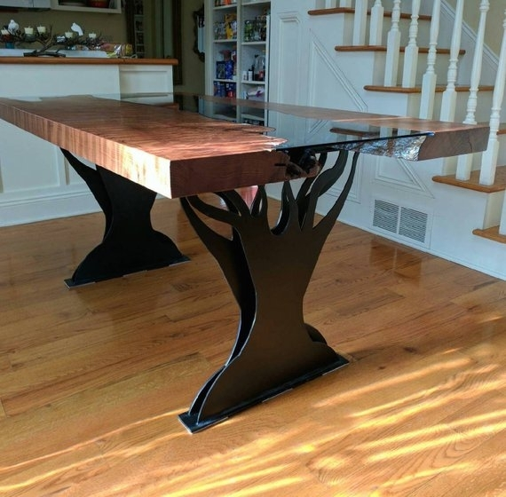 Metal Double Tree Dining Table Legs   Etsy Regarding Tree Dining Tables (Image 13 of 25)