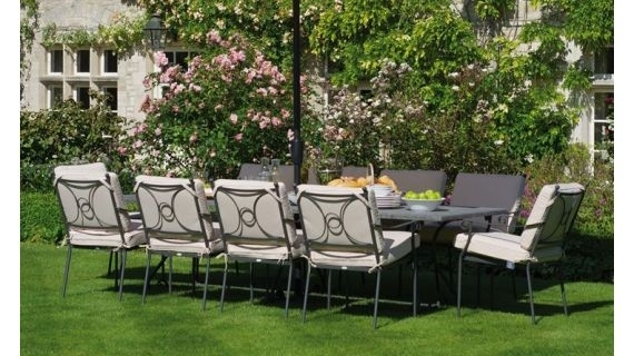 Metal Garden Furniture | Iron And Steel Garden Furniture Sets Throughout Garden Dining Tables (View 22 of 25)