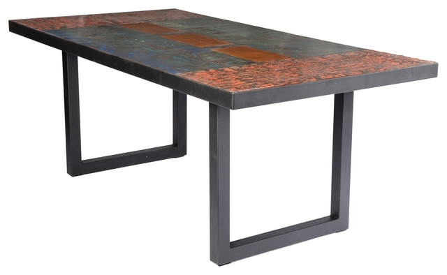 Metal Recycled Oil Drum Dining Room Table – Industrial – Dining In Natural Wood & Recycled Elm 87 Inch Dining Tables (Image 18 of 25)