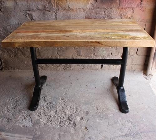 Metal & Wood Industrial Vintage Wrought Cast Iron Mango Wood Dining With Regard To Iron And Wood Dining Tables (Image 14 of 25)
