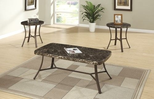 Metallic (Grey) Coffee End Table Set With Faux Marble Top, Brown Within Grady 5 Piece Round Dining Sets (Image 14 of 25)