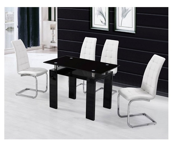 Metro Dining Table Black + 4 White New York Chairs | Paradise Within Metro Dining Tables (Image 16 of 25)