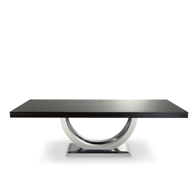 Metro Dining Table Chrome Base | Solid Wood | Woodcraft Intended For Chrome Dining Sets (Image 16 of 25)