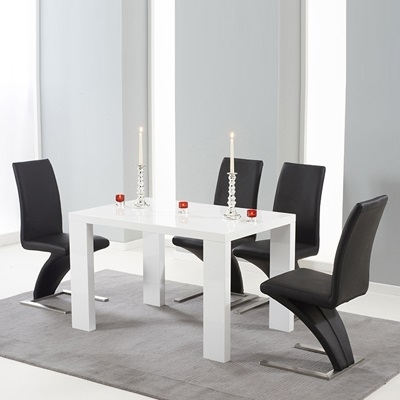 Metro High Gloss White 120Cm Dining Table With 4 Harvey Black Chairs Pertaining To White Gloss Dining Tables 120Cm (Image 16 of 25)