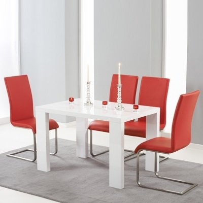 Metro High Gloss White 120Cm Dining Table With 4 Milan Red Chairs With Red Gloss Dining Tables (Image 9 of 25)
