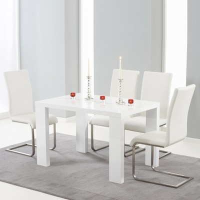 Metro High Gloss White 120Cm Dining Table With 4 Milan White Chairs Regarding White Gloss Dining Tables 120Cm (View 4 of 25)