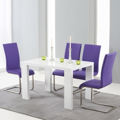 Metro High Gloss White 150Cm Dining Table With 6 Milan Purple Chairs Within Metro Dining Tables (View 18 of 25)