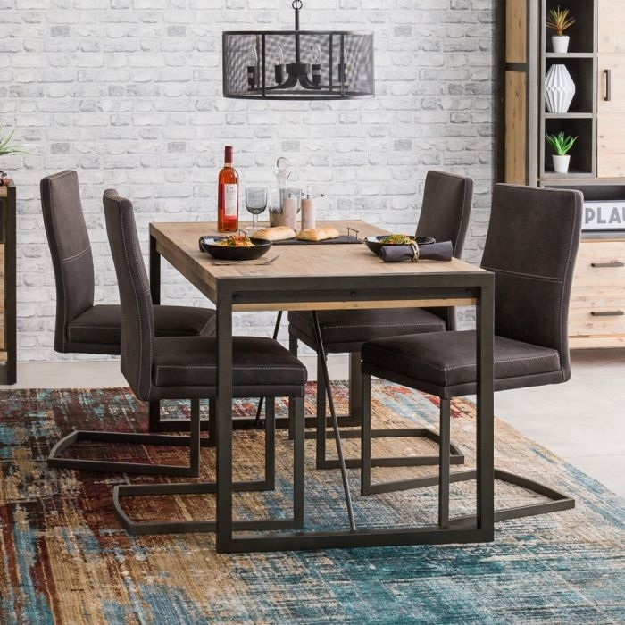 Metro Industrial Small 4 Seater Dining Table With 4 Chair Set | The In Small 4 Seater Dining Tables (View 7 of 25)