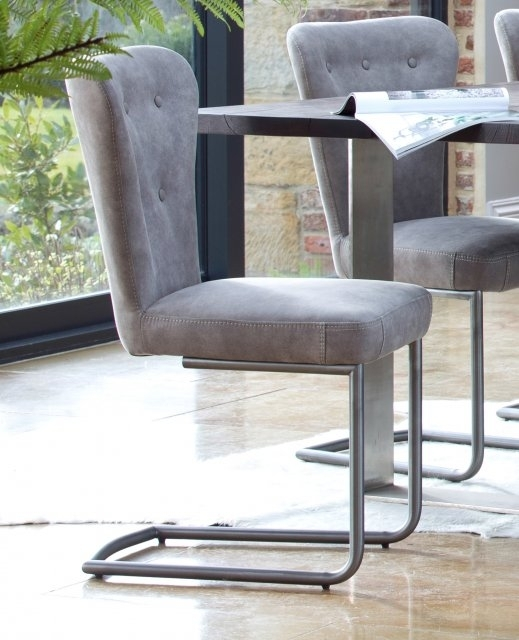 Metro Oak Oscar Metal Dining Chair – Grey – Metal Dining Chairs With Regard To Grey Dining Chairs (Photo 11 of 25)