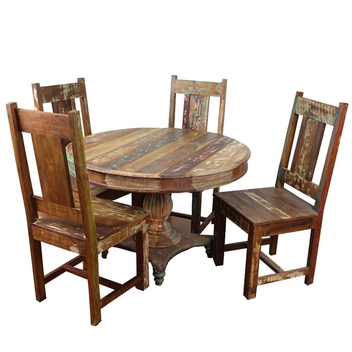 Meva Furniture Rainforest 5Pcs Round Dining Table Set In Wood With Regard To Grady Round Dining Tables (Image 17 of 25)