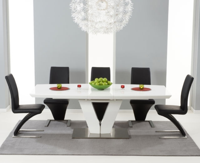 Miami 180Cm Extending High Gloss White Dining Table & 8 Black Z Within High Gloss White Dining Chairs (View 11 of 25)