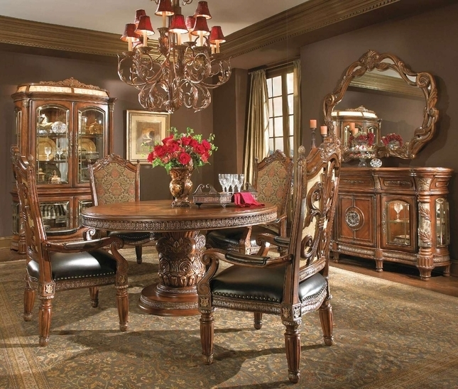 Michael Amini Villa Valencia | Chestnut Dining Table Intended For Valencia 5 Piece Round Dining Sets With Uph Seat Side Chairs (Image 18 of 25)
