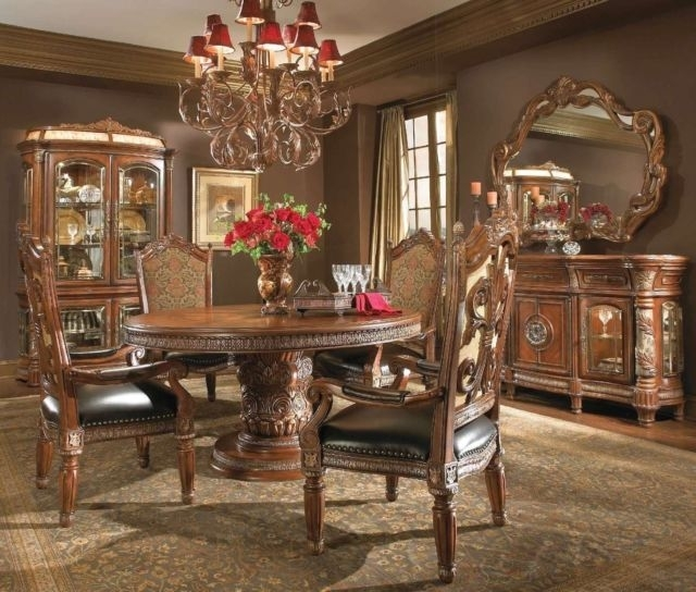 Michael Amini Villa Valencia Traditional Round Oval Table Chairs With Regard To Valencia 3 Piece Counter Sets With Bench (View 18 of 25)