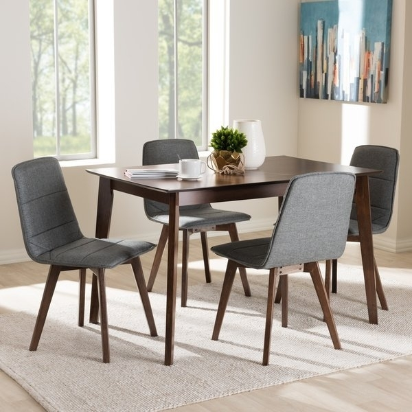 Mid Century 5 Piece Dining Setbaxton Studio – Free Shipping With Regard To Caden 5 Piece Round Dining Sets With Upholstered Side Chairs (View 11 of 25)