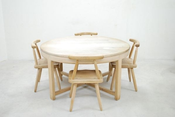 Mid Century Arts & Crafts Oak Dining Table And 4 Chairs For Sale At Throughout Oak Dining Tables And 4 Chairs (View 25 of 25)