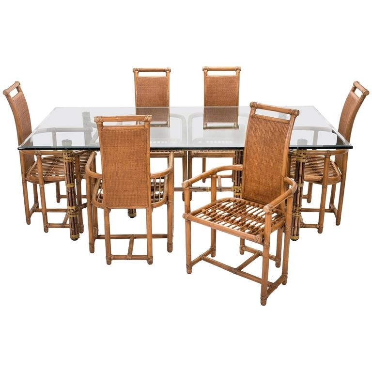 Mid Century Mcguire Bamboo Dining Table Chairs Set For Sale At 1Stdibs For Dining Table Chair Sets (Image 16 of 25)