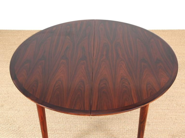 Mid Century Modern Danish Extendable Round Dining Table In Rio Regarding Rio Dining Tables (Image 10 of 25)