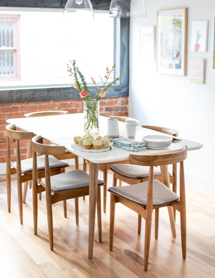 Mid Century Modern Dining Table And Chairs – Flax & Twine Inside Modern Dining Room Sets (Image 18 of 25)