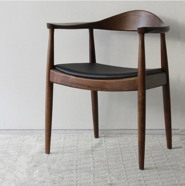 Mid Century Presidential Dining Chair Armchair In Real Leather Within Real Leather Dining Chairs (Image 6 of 25)