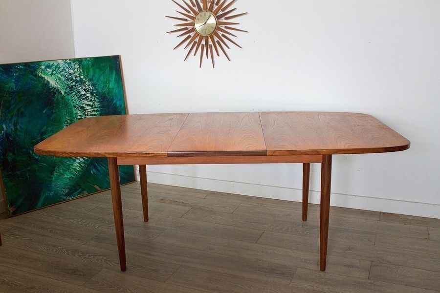 Mid Century Retro Danish Style G Plan Teak Extending Dining Table Inside Retro Extending Dining Tables (View 12 of 25)