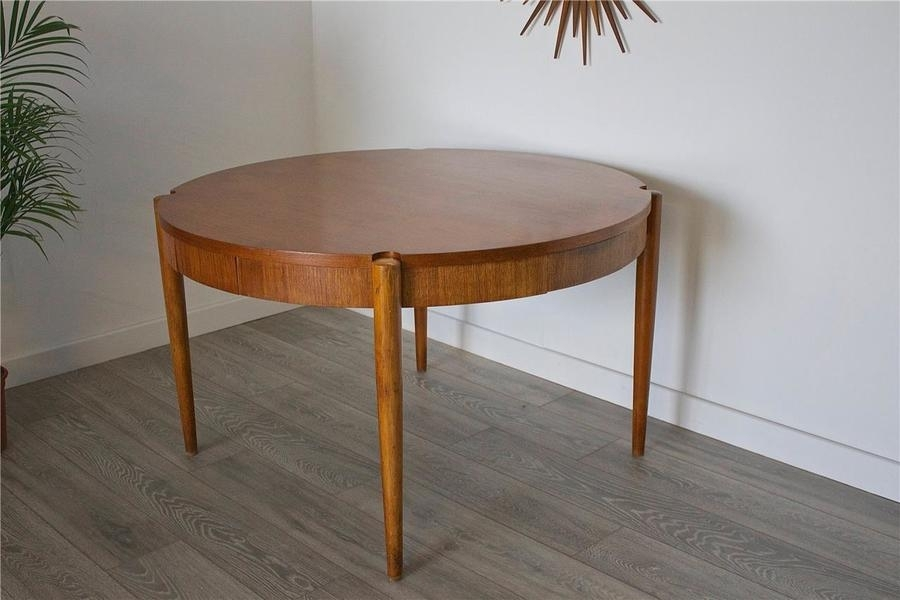 Mid Century Retro Danish Style Teak Flip Top Poker Card Dining Table Regarding Danish Style Dining Tables (Image 12 of 25)