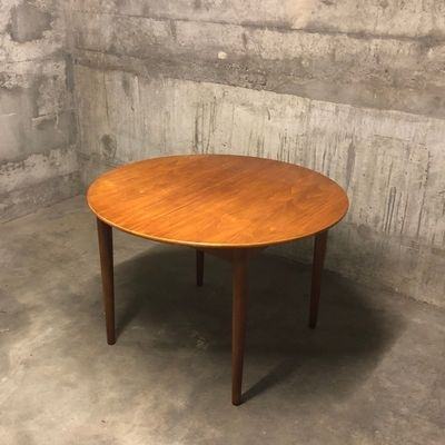 Mid Century Round Teak Dining Tableib Kofod Larsen For G Plan Throughout Helms 5 Piece Round Dining Sets With Side Chairs (Image 13 of 25)