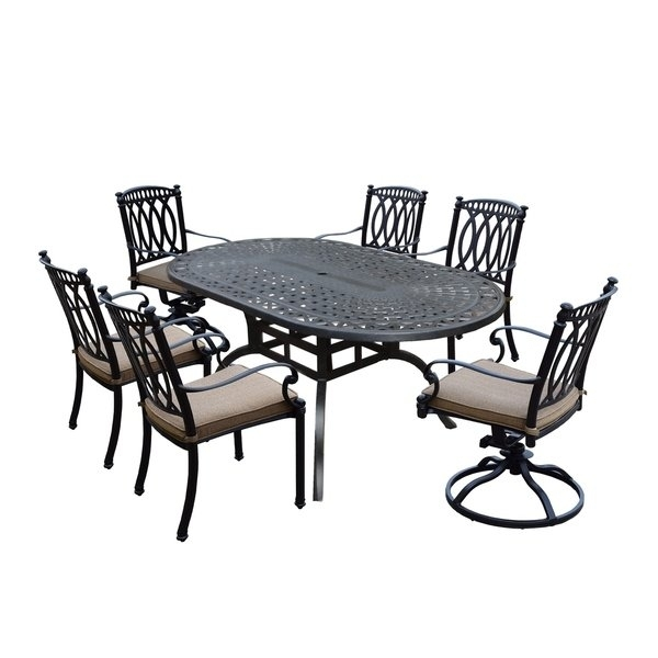 Milan 7 Piece Set With Oval Table, 4 Cushioned And Stackable Chairs Pertaining To Valencia 72 Inch 7 Piece Dining Sets (Image 14 of 25)