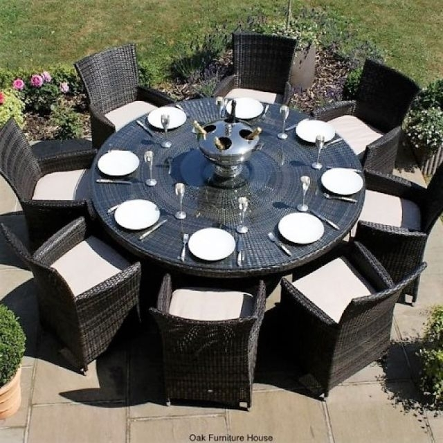Milan Baby Rattan Outdoor Garden Furniture 8 Seater Brown Round Throughout 8 Seater Round Dining Table And Chairs (Image 19 of 25)