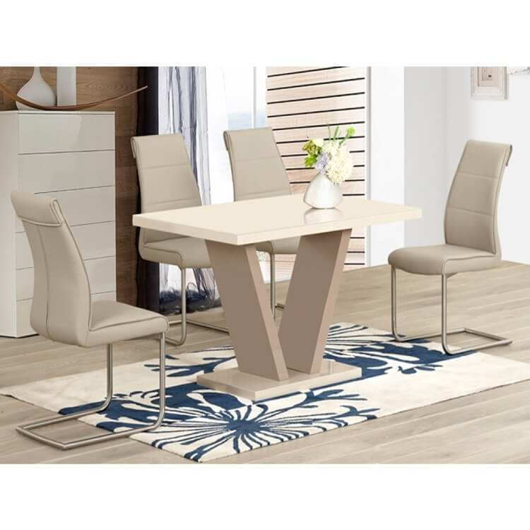 Milan Cream High Gloss Dining Set 4 To 6 Seater   Dining Sets   Fads Pertaining To High Gloss Cream Dining Tables (Image 17 of 25)