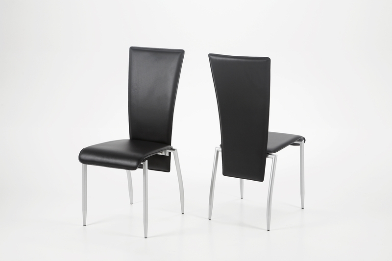 Milan Dining Chair Black Leather – Quality Dining Chairs With Chrome Inside Chrome Leather Dining Chairs (View 6 of 25)