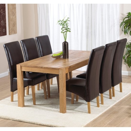 Milan Oak Dining Table And 6 Roma Dining Chairs 14078 With Regard To Oak Dining Tables With 6 Chairs (Image 13 of 25)