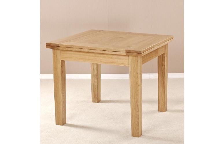 Milano Solid Oak Square Flip Top Extending Dining Table Intended For Flip Top Oak Dining Tables (Image 16 of 25)