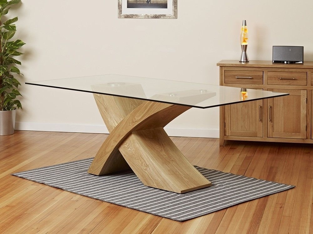 Milano X Wood Veneer Oak Glass Dining Table Set 6 Chairs Seater In Throughout Glass Oak Dining Tables (Image 18 of 25)