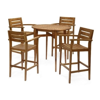Millwood Pines Bennett 5 Piece Bar Hight Dining Set In 2018 In Jensen 5 Piece Counter Sets (Image 24 of 25)