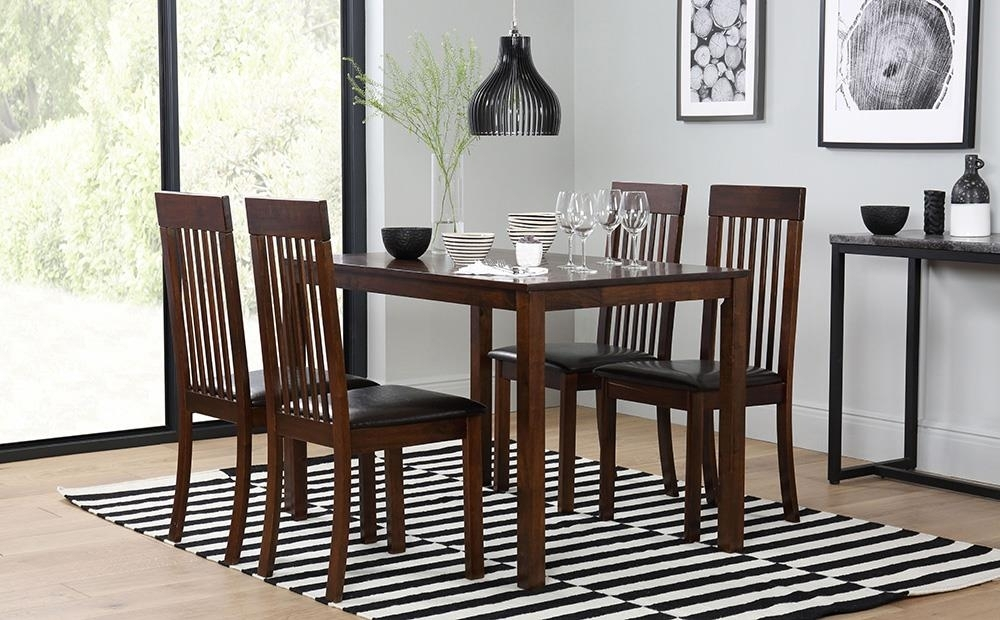 Milton Dark Wood Dining Table And 4 Chairs Set (Oxford Dark) Only With Milton Dining Tables (Image 7 of 25)