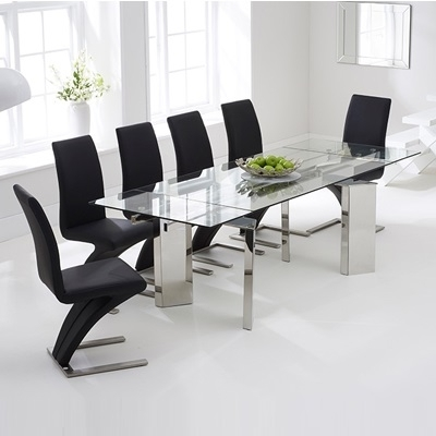 Milton Glass Extending Dining Table With 8 Harvey Black Chairs With Milton Dining Tables (Image 14 of 25)