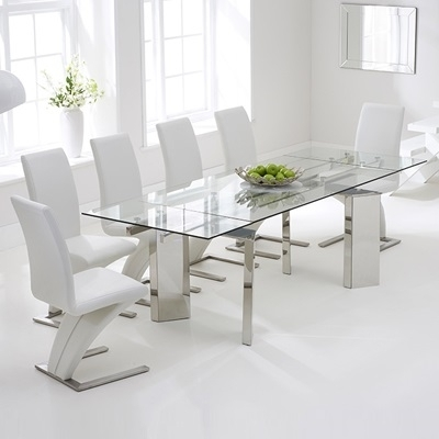 Milton Glass Extending Dining Table With 8 Harvey White Chairs With Regard To Milton Dining Tables (Image 15 of 25)