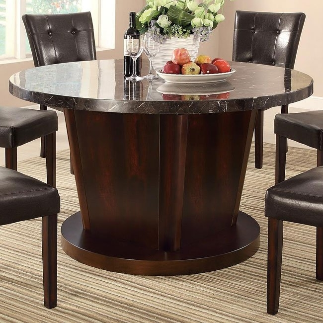Milton Round Dining Table W/ Dark Marble Top Coaster Furniture For Milton Dining Tables (Image 18 of 25)