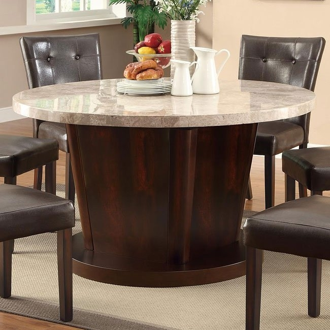 Milton Round Dining Table W/ Light Marble Top Coaster Furniture Regarding Milton Dining Tables (View 24 of 25)