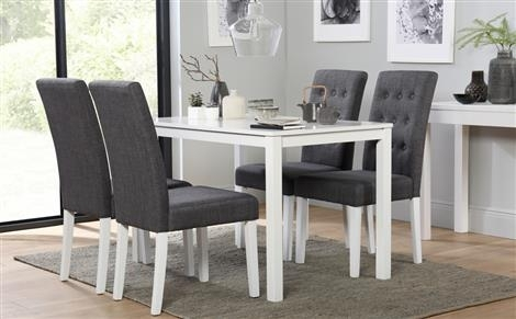 Milton White Dining Table And 4 Java Chairs Set Only £ (Image 13 of 25)