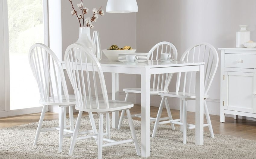 Milton White Dining Table And 4 Windsor Chairs Set Only £ (Image 20 of 25)