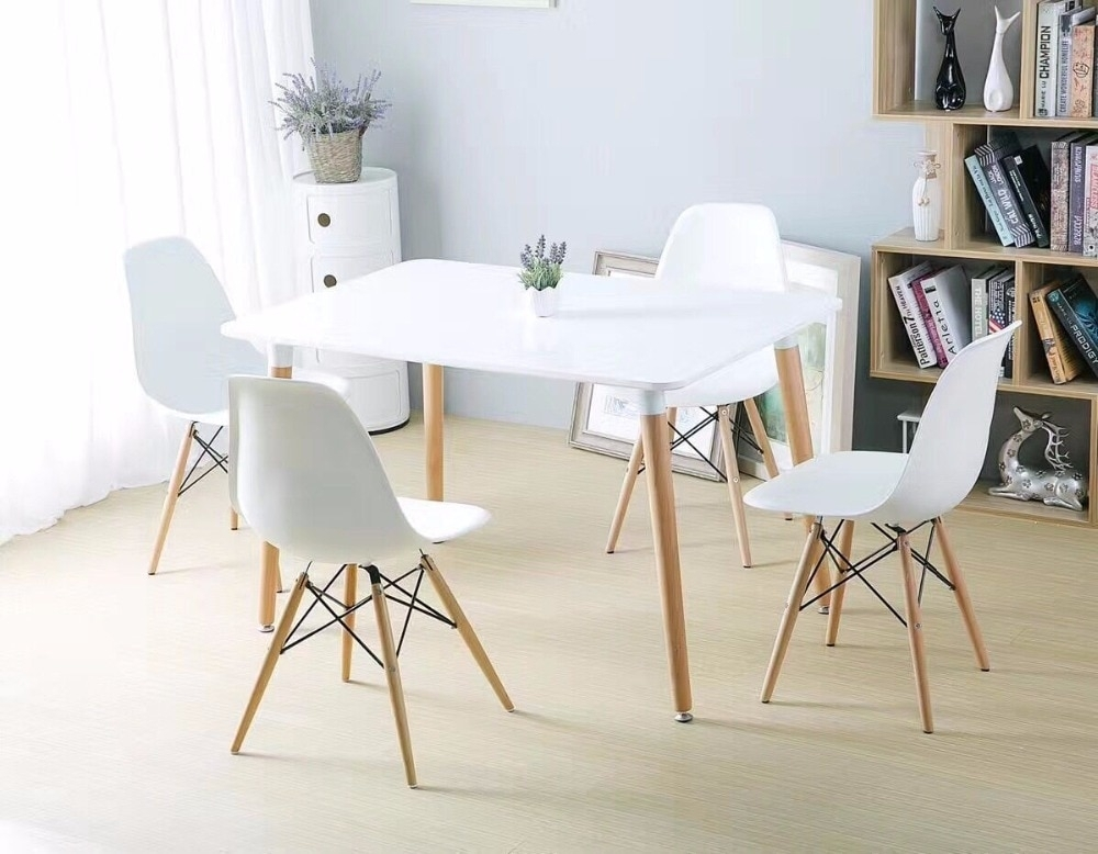 Minimalist Modern Design Dining Furniture Set 1 Table 4 Chairs Inside Patterson 6 Piece Dining Sets (View 7 of 25)