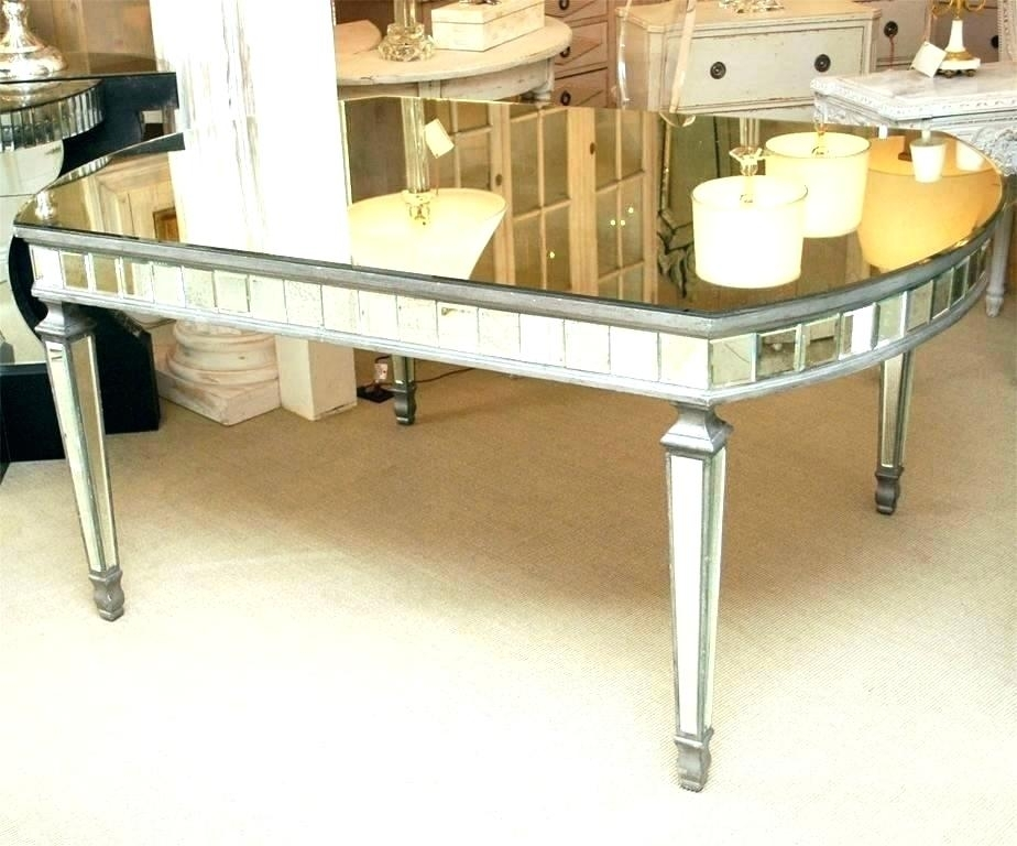 Mirror Dining Room Table Silver Velvet And Antique Gold Mirrored Regarding Antique Mirror Dining Tables (View 19 of 25)