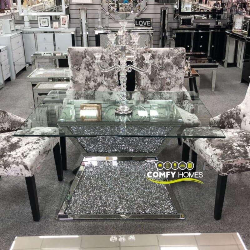 Mirrored Crushed Crystal Dining Table (Milano) Within Crystal Dining Tables (View 2 of 25)