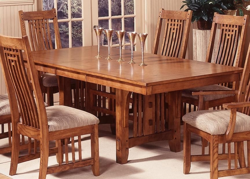 Mission Style Dining Room Furniture | Trestle Dining Table Within Craftsman 7 Piece Rectangular Extension Dining Sets With Arm & Uph Side Chairs (Image 16 of 25)