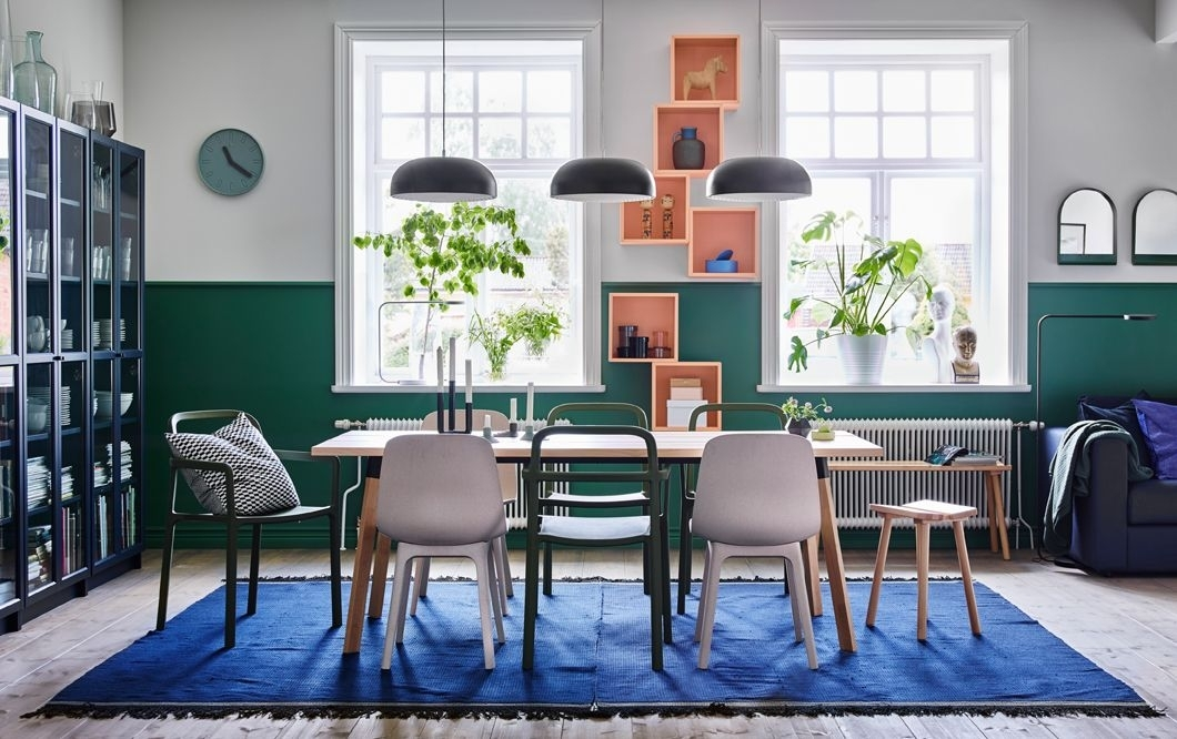 Mix And Match The Stackable Ypperlig Chair In Green With The For Wyatt 6 Piece Dining Sets With Celler Teal Chairs (Image 17 of 25)
